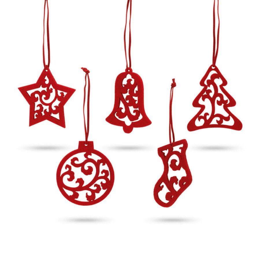 Σετ Χριστουγεννιάτικα Στολίδια 5τμχ 8035